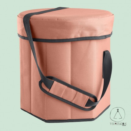 Cooler bag with seat - coral