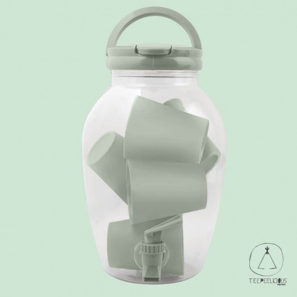STORAGE JAR with 6 CUPS - green