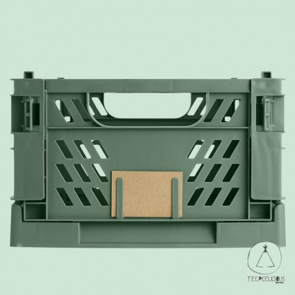 FOLDABLE CRATE OLIVE GREEN L