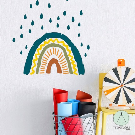 """Wall sticker """"rainbow with raindrops"""" multicolor"""
