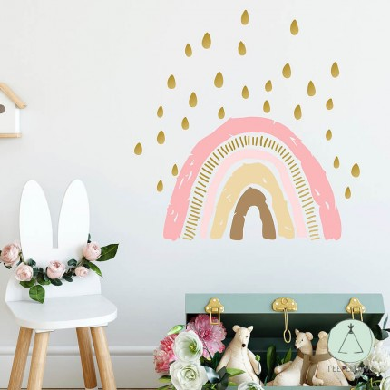 """Wall sticker """"rainbow with raindrops"""" pink"""