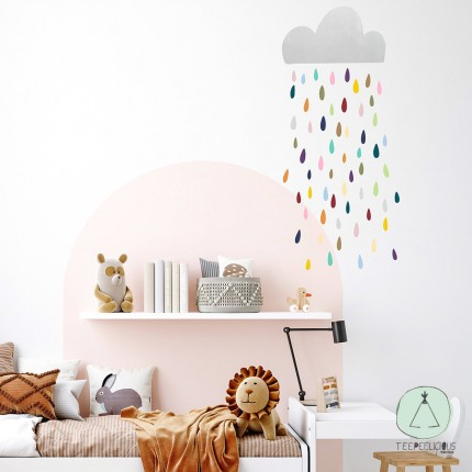 """Wall sticker """"silver cloud with raindrops"""" multicolor"""