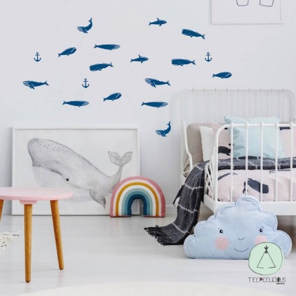 """Wall stickers """"Cetaceans"""" blue"""