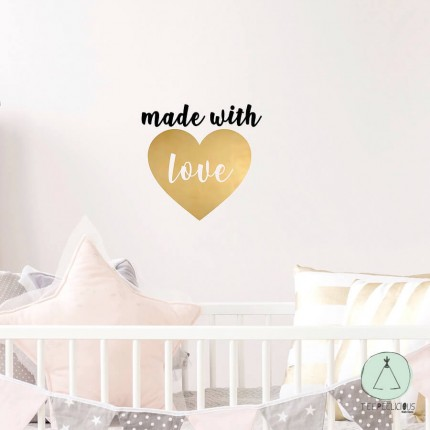 """Wall sticker """"Made with love"""" gold"""