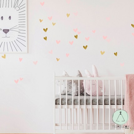 """Wall stickers """"Hearts"""" pink"""