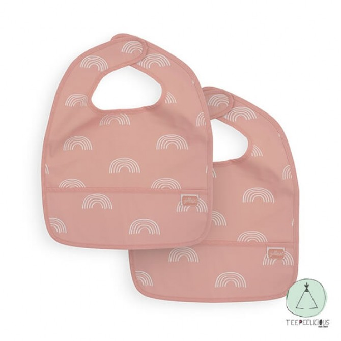 "Bib  ""rainbow"" pink set of two"