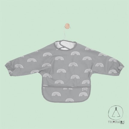 "Bib with long sleeves ""rainbow"" grey"