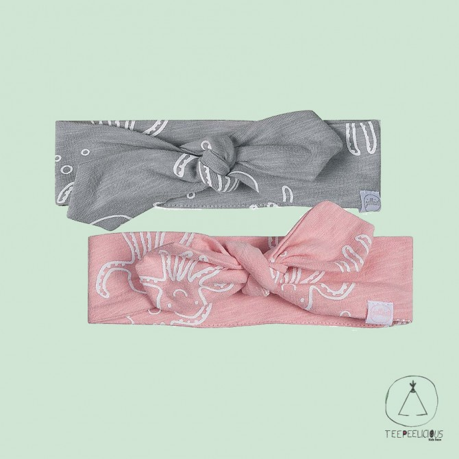 Baby Headband Octopus, Pack of 2 (Pink/Grey) - 100% organic cotton