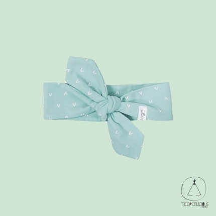 Baby Headband hearts mint- 100% organic cotton