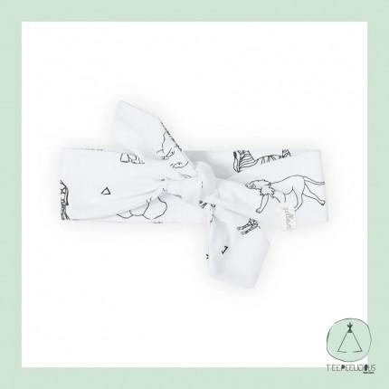 Baby Headband white safari- 100% organic cotton