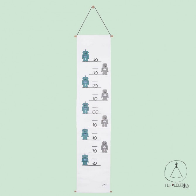 GROWTH CHART ROBOT TEAL
