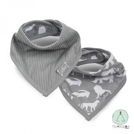 Bandana bib safari grey set of 2