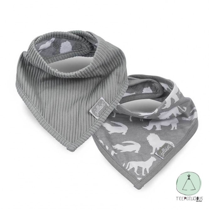 Bandana bib safari grey set of 2