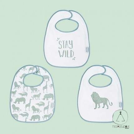 Bib safari green set of 3