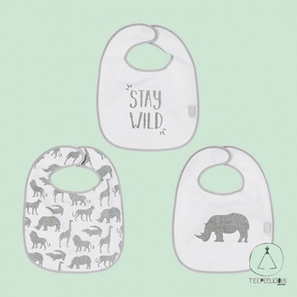 Bib safari grey set of 3