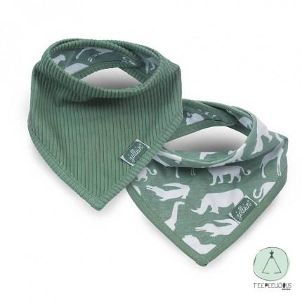 Bandana bib safari green set of 2