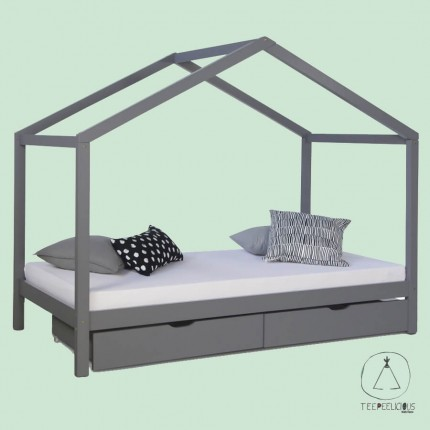 HOME BED  GREY WITH DRAWERS