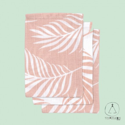 """Wash cloth Hydrophilic """"Leaves"""" pink"""
