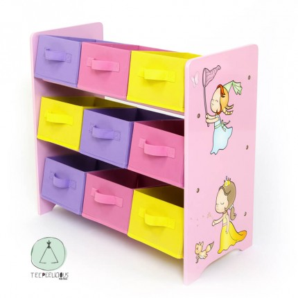 Wooden Shelf Storage boxes Princess