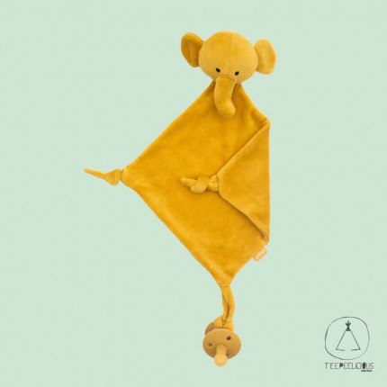 Pacifier Cloth elephant mustard