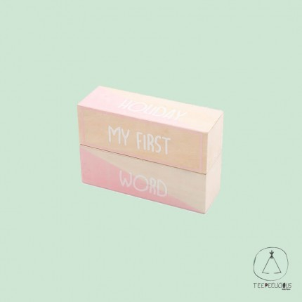 Wooden my first moments blocks pink