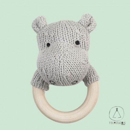 Hippo teething ring grey