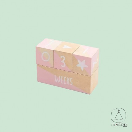 Wooden milestone blocks pink