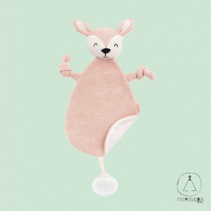 Pacifier Cloth Knitted Deer pink