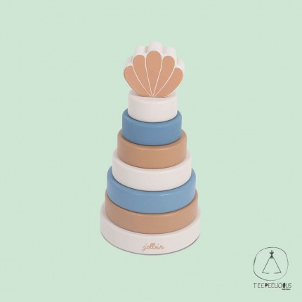 Wooden Stacking tower blue