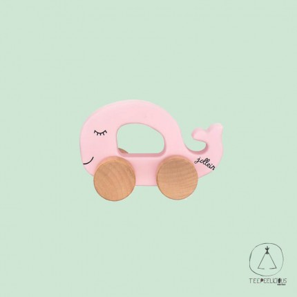 Wooden toy car fish pink