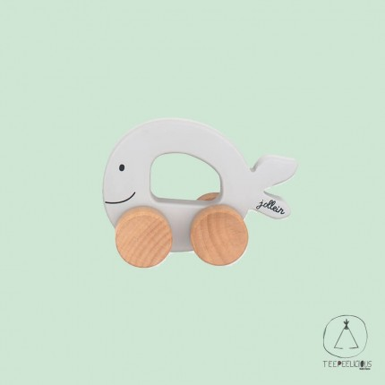 Wooden toy car fish grey