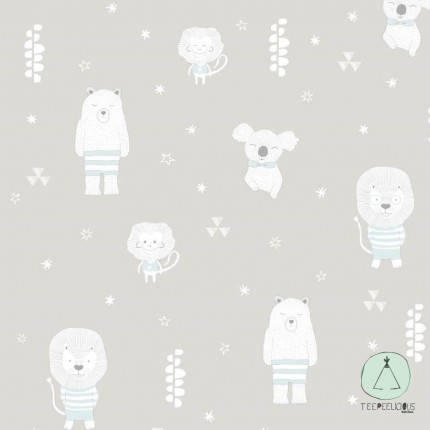 WALLPAPER SWEET ANIMALS GREY