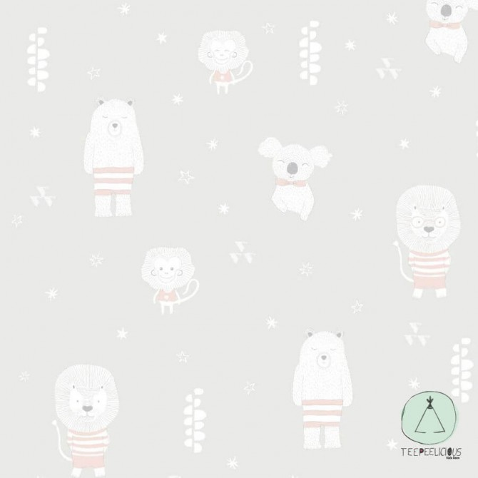 WALLPAPER SWEET ANIMALS LIGHT GREY